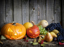 Halloween pumpkins fruits and vegetables Stock Photography