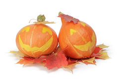 Halloween pumpkins with funny face Stock Photography