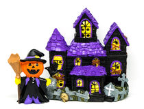 Halloween pumpkins ghost toy house isolated Royalty Free Stock Photos