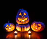 Halloween pumpkins glowing inside Stock Image