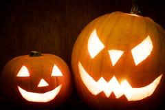 Halloween pumpkins glowing, jack-o-lantern Royalty Free Stock Image