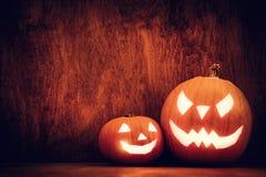 Halloween pumpkins glowing, jack-o-lantern Stock Image