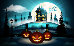 Halloween pumpkins in graveyard and dark castle on blue Moon background, illustration. Stock Photo