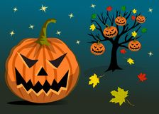 Halloween pumpkins. Hanging on tree royalty free illustration