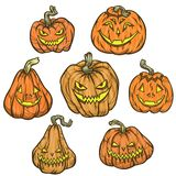 Halloween Pumpkins. Happy Halloween. Vector set of cute cartoon pumpkin characters on white background vector illustration