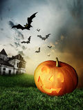 Halloween Pumpkins and haunted house Royalty Free Stock Photo