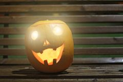 Halloween Pumpkins head. Orange pumpkin with a smile and eyes on stock image