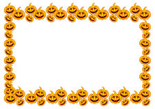 Halloween pumpkins horizontal frame Royalty Free Stock Image