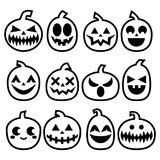 Halloween Pumpkins  icon set, Halloween scary faces design collection, stroke pumpkin decoration in black on white backgroun Royalty Free Stock Photos