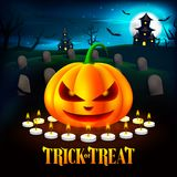 Halloween Pumpkins Illustration in the Cemetery with Haunted House Background. Vector stock illustration