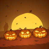 Halloween Pumpkins. Illustration of the Halloween pumpkins with moon in background Royalty Free Stock Images