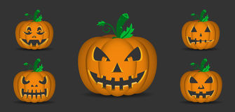 Halloween Pumpkins. Illustration of pumpkin with halloween faces on black background Stock Photography
