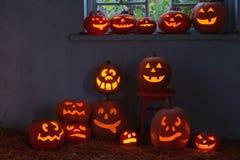 Halloween pumpkins indoor Royalty Free Stock Photography
