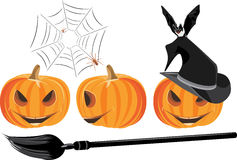 Halloween pumpkins isolated on the white Stock Images