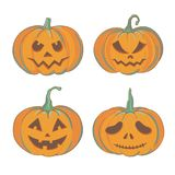 Halloween pumpkins isolated on white. Set of carved pumpkins with different emotions for Halloween. Hand drawn Halloween pumpkins illustration isolated on white Stock Photos