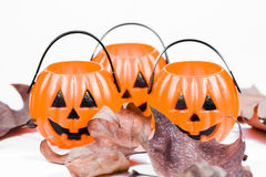 Halloween pumpkins and leaves Stock Image