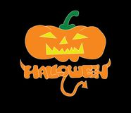 Halloween Pumpkins Logo, The orange freehand font of halloween with horn and tail, The orange pumpkins with yellow face and green stock illustration