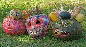 Halloween pumpkins made by children Stock Photography