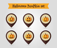 Halloween pumpkins mapping pin icon set Royalty Free Stock Photography