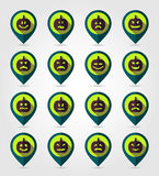 Halloween pumpkins mapping pin icon set Royalty Free Stock Photo