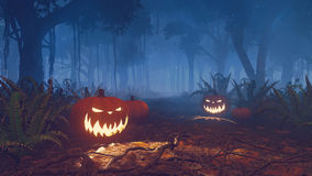 Halloween pumpkins in a misty forest close up. Jack-o-lanterns on the path through the creepy night forest. Close up. Realistic 3D illustration was done from my Royalty Free Stock Images