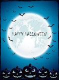 Halloween pumpkins with Moon and bats Royalty Free Stock Photography