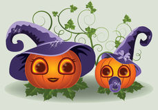 Halloween pumpkins mother and child Royalty Free Stock Image