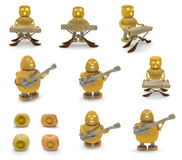 Halloween pumpkins musicians (bass-guitarist, keyboardist) Royalty Free Stock Photo