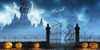 Halloween pumpkins next to a gate of a spooky castle. Jack O`Lanterns guarding an open gate leading to a spooky castle high up in the mountains Royalty Free Stock Image