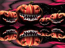 Halloween pumpkins by night Royalty Free Stock Photo