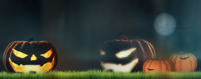 Halloween pumpkins at night 3d render Royalty Free Stock Images