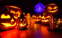 Halloween pumpkins at night dark scenery Stock Photos