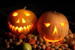 Halloween pumpkins in the night Stock Image