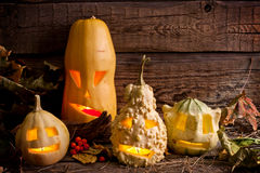 Halloween pumpkins in night Stock Photography