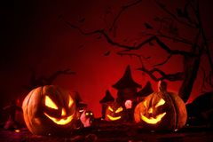 Halloween pumpkins of nightly spooky forest and Castle Royalty Free Stock Image