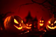 Halloween pumpkins of nightly spooky forest and Castle Royalty Free Stock Photo