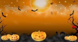 Free Halloween Pumpkins On Dark Spooky Forest. Many Bats Flying In Sky With Full Moon Night. Halloween Theme Use For Wallpaper Or Royalty Free Stock Images - 172967869