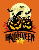 Halloween pumpkins on orange. Background. Vector illustration Royalty Free Stock Image
