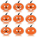 Halloween pumpkins in orange, black and white with shadow element Royalty Free Stock Image