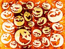 Halloween pumpkins orange happy background texture Royalty Free Stock Photos