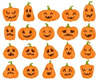 Halloween Pumpkins. Orange Pumpkin With Jack Lantern Characters. Spooky And Angry Carved Faces For Autumn Holiday Royalty Free Stock Images