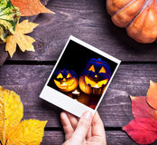 Halloween pumpkins picture Royalty Free Stock Images