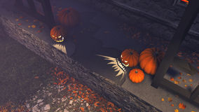 Halloween pumpkins on the porch top view Royalty Free Stock Photography