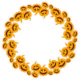 Halloween pumpkins round frame Royalty Free Stock Images