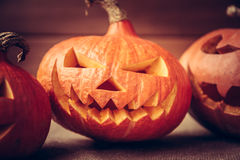 Halloween pumpkins in a row on dark rustic background Royalty Free Stock Photo