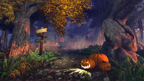 Halloween pumpkins in a scary autumn forest. Mystic night forest with wooden signpost and jack-o-lanterns on foreground and with a haunted house in the distance Stock Photography