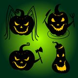Halloween Pumpkins with scary faces. Jackolanterns Royalty Free Stock Photo