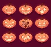 Halloween pumpkins set. Halloween pumpkins with scary faces set royalty free illustration