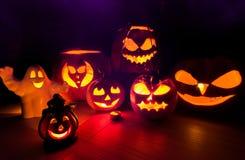 Halloween pumpkins scary scenery Royalty Free Stock Photos