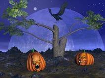 Halloween pumpkins scenery - 3D render Stock Photos